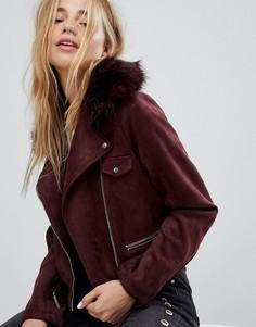 Байкерская куртка с отделкой искусственным мехом Pimkie - Красный