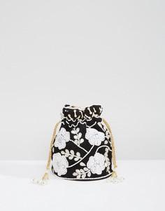 Маленькая сумка ручной работы с вышивкой и затягивающимся шнурком Park Lane - Черный