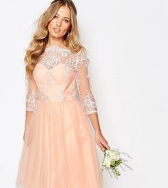 Кружевное платье миди с юбкой из тюля Chi Chi London - Розовый