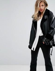 Удлиненная байкерская куртка из искусственной кожи Supertrash Oling - Черный