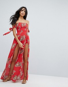 Пляжное платье макси с цветочным принтом Surf Gypsy - Красный