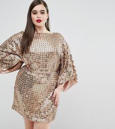 Платье с дискообразными пайетками ASOS CURVE RED CARPET - Золотой