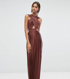 Плиссированное платье макси с перекрестной отделкой спереди True Decadence Tall - Коричневый