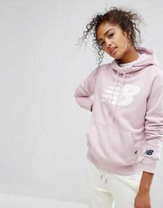 Розовый худи-пуловер с логотипом New Balance - Розовый