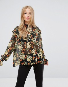Блузка с оборками и цветочным принтом Pimkie - Черный