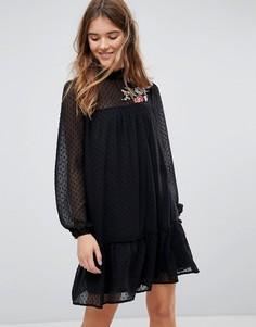 Свободное платье с цветочной вышивкой Pimkie - Черный