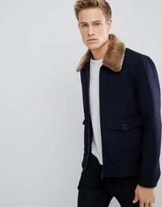 Темно-синяя куртка с воротником из искусственного меха Burton Menswear - Темно-синий