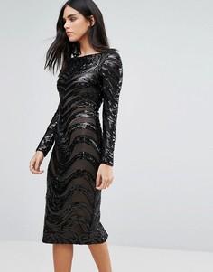 Облегающее платье с длинными рукавами и отделкой Forever Unique - Черный