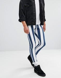 Обтягивающие джинсы в синюю и белую полоску Jaded London - Белый
