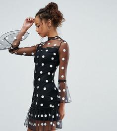 Платье из сетки в горошек Parisian Petite - Черный