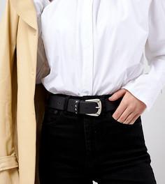 Кожаный ремень в стиле вестерн с заклепками Retro Luxe - Черный