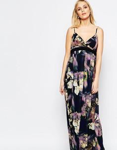 Платье макси для беременных с ярким цветочным принтом Little Mistress Maternity - Мульти