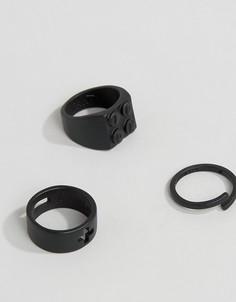 Набор из 3 черных матовых колец Icon Brand - Черный
