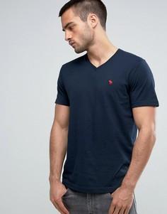 Темно-синяя обтягивающая футболка с логотипом Abercrombie & Fitch - Темно-синий