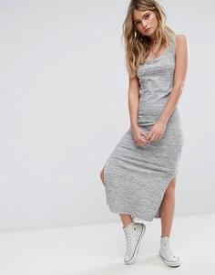 Трикотажное платье миди в рубчик с разрезами по бокам Pimkie - Серый