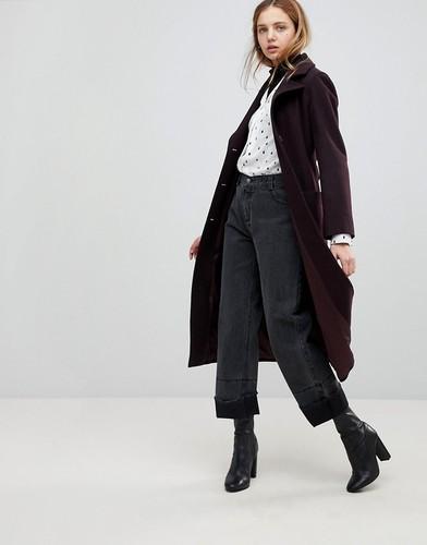 Длинное пальто с поясом из ткани с добавлением шерсти и кашемира Helene Berman - Фиолетовый