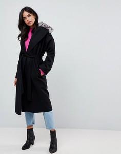 Пальто из смешанной шерсти с леопардовым принтом Helene Berman - Черный