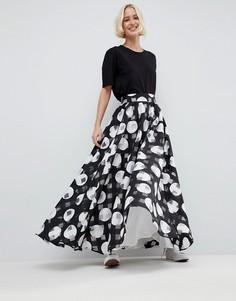 Пышная юбка макси в полоску и горошек ASOS WHITE - Мульти