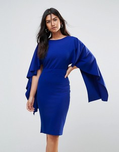 Платье миди с оборками на рукавах City Goddess - Синий