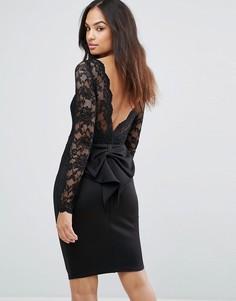 Платье мини с длинными рукавами и кружевным лифом City Goddess - Черный