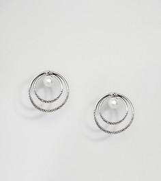 Серебряные серьги-гвоздики с искусственным жемчугом Kingsley Ryan - Серебряный