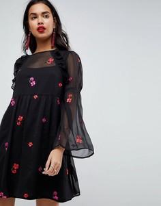Свободное платье мини с вышивкой ASOS - Черный