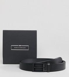 Изготовленный в Англии черный узкий кожаный ремень ASOS PLUS - Черный