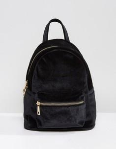 Бархатный мини-рюкзак Qupid - Черный