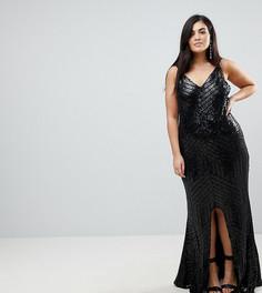 Блестящее платье макси на бретелях Club L Plus - Черный