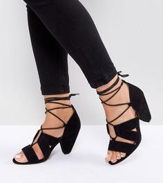 0a9725b00 Босоножки на каблуке со шнуровкой для широкой стопы ASOS TALI - Черный