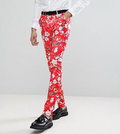 Красные супероблегающие брюки с принтом ASOS TALL - Красный