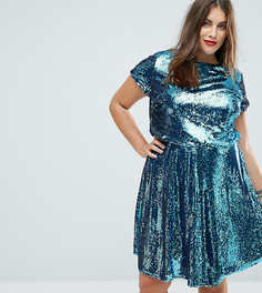 Короткое приталенное платье с пайетками TFNC Plus - Синий