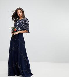 Платье макси с цветочной отделкой и расклешенными рукавами ASOS TALL Wedding - Темно-синий