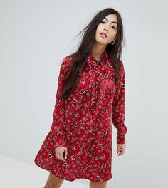 Платье-рубашка с длинными рукавами и винтажным цветочным принтом Glamorous Petite - Красный