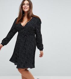 Платье в горошек с запахом Glamorous Curve - Черный
