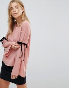 Топ с завязками на рукавах Vero Moda - Розовый