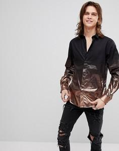 Рубашка скинни металлик Noose & Monkey - Золотой