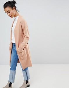 Удлиненный кардиган с поясом Fashion Union - Розовый