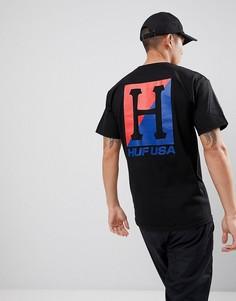 Футболка с большим принтом на спине HUF - Черный
