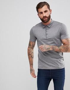 Серая меланжевая футболка-поло HUGO - Серый