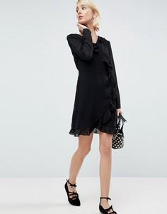 Платье в фактурный горошек с запахом Pimkie - Черный