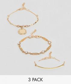 Набор из 3 браслетов в винтажном стиле ASOS - Золотой