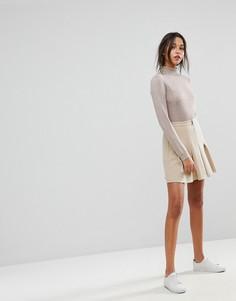 Плиссированная юбка на молнии Max & Co - Бежевый