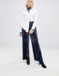Бархатные брюки Weekday - Темно-синий