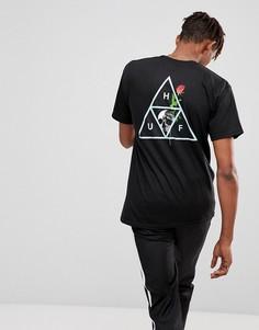 Черная футболка с принтом черепа и розы HUF - Черный