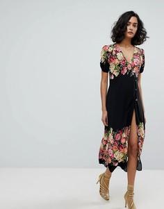 Платье миди с цветочным принтом Free People Jaimie - Черный