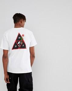 Белая футболка с принтом черепа и розы HUF - Белый