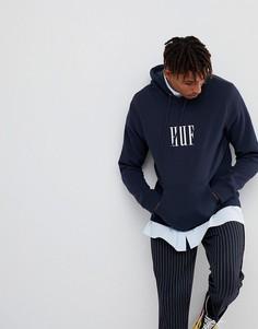 Худи с большим вышитым логотипом HUF Marka - Темно-синий