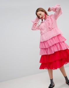 Платье миди с оборками и эффектом омбре Sister Jane - Розовый