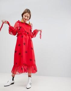 Платье миди с оборками и контрастным принтом звезд Sister Jane - Красный